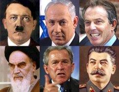 Hitler, Netanyahu, Blair, Khomeini, Bush, Stalin
