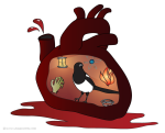 Amy's wonderous and amazing magpie heart (carefully removed and put on display).