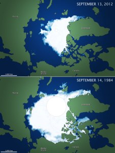 Arctic ice coverage in 2012, compared to a typical year (1984).