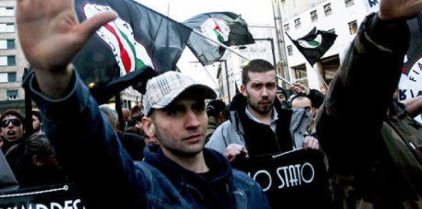 Fiamma Tricolore protestors, showing their nationalist tricolour banners and fascist salute.
